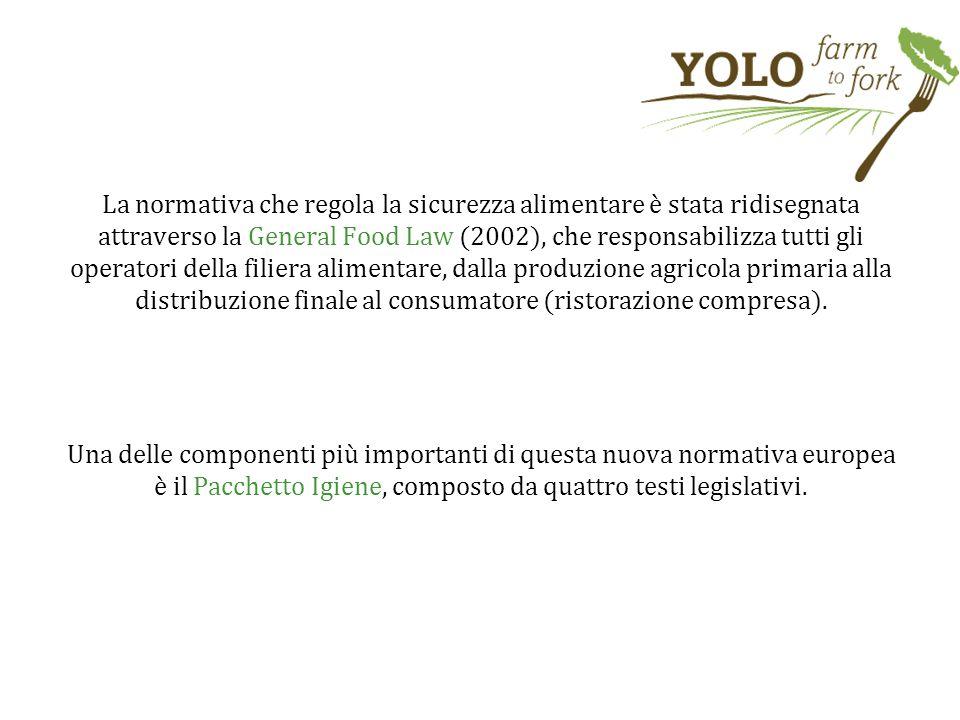 La normativa che regola la sicurezza alimentare è stata ridisegnata attraverso la General Food Law (2002), che responsabilizza tutti gli operatori del