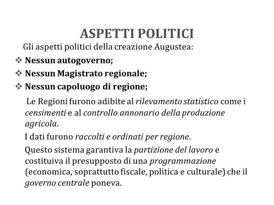 ASPETTI POLITICI Gli aspetti politici della creazione Augustea:  Nessun autogoverno;  Nessun Magistrato regionale;  Nessun capoluogo di regione; Le