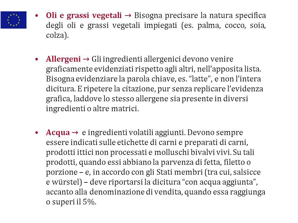 Oli e grassi vegetali → Bisogna precisare la natura specifica degli oli e grassi vegetali impiegati (es. palma, cocco, soia, colza). Allergeni → Gli i