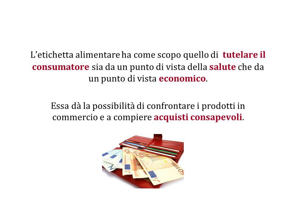 L'etichetta alimentare ha come scopo quello di tutelare il consumatore sia da un punto di vista della salute che da un punto di vista economico. Essa