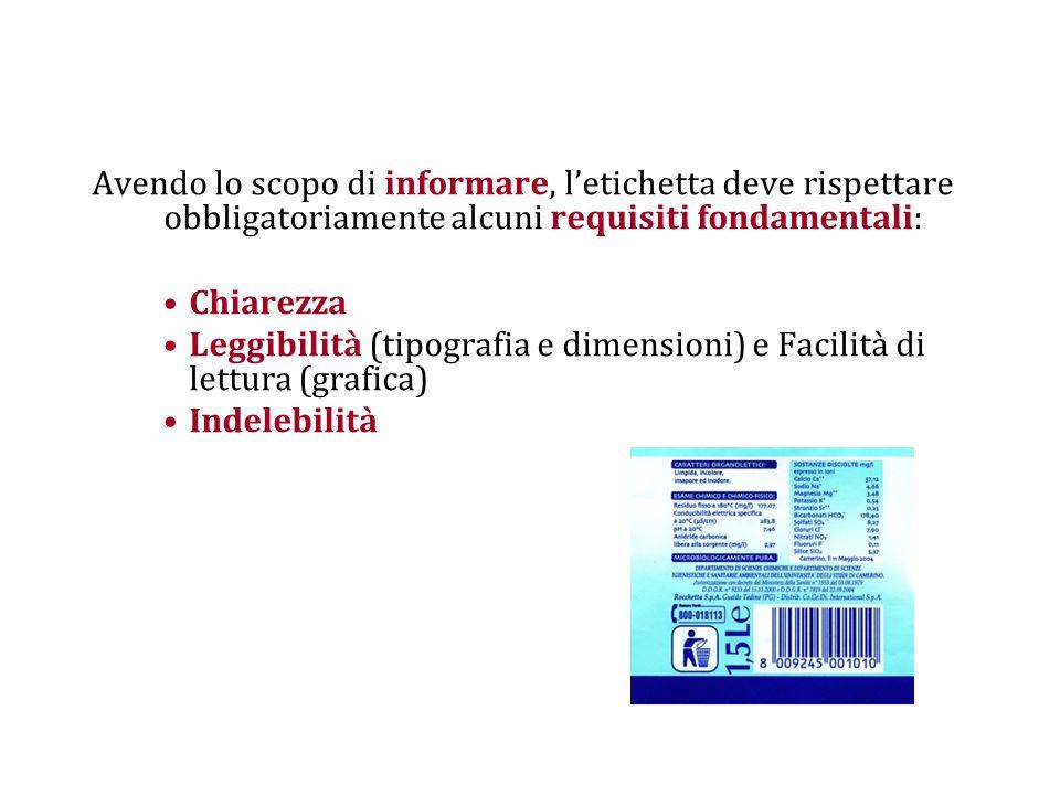 Avendo lo scopo di informare, l'etichetta deve rispettare obbligatoriamente alcuni requisiti fondamentali: Chiarezza Leggibilità (tipografia e dimensioni) e Facilità di lettura (grafica) Indelebilità