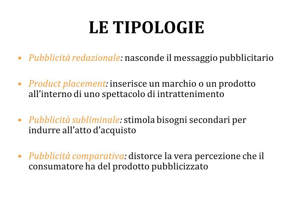 LE TIPOLOGIE Pubblicità redazionale: nasconde il messaggio pubblicitario Product placement: inserisce un marchio o un prodotto all'interno di uno spet