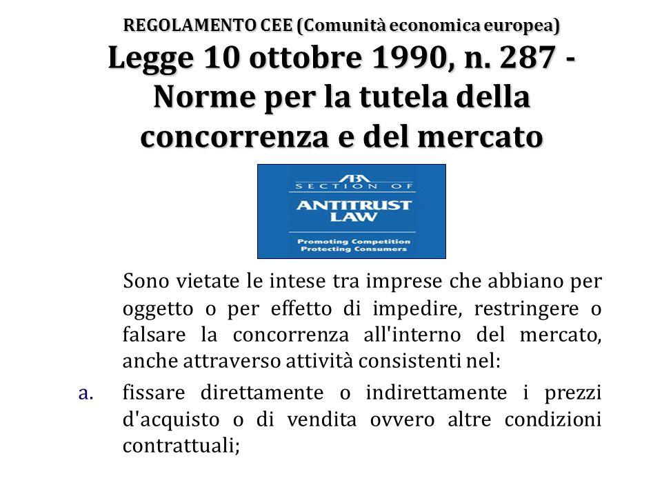 REGOLAMENTO CEE (Comunità economica europea) Legge 10 ottobre 1990, n. 287 - Norme per la tutela della concorrenza e del mercato Sono vietate le intes