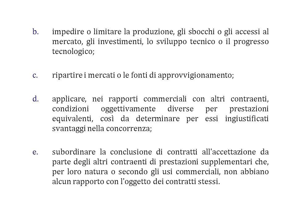 b.impedire o limitare la produzione, gli sbocchi o gli accessi al mercato, gli investimenti, lo sviluppo tecnico o il progresso tecnologico; c.riparti