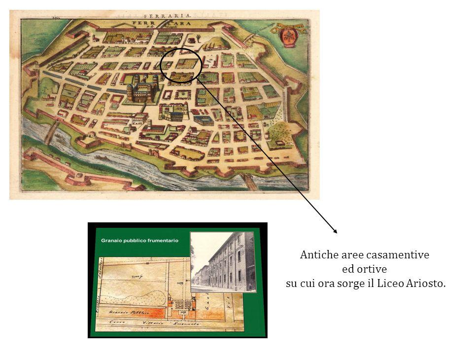 Antiche aree casamentive ed ortive su cui ora sorge il Liceo Ariosto.