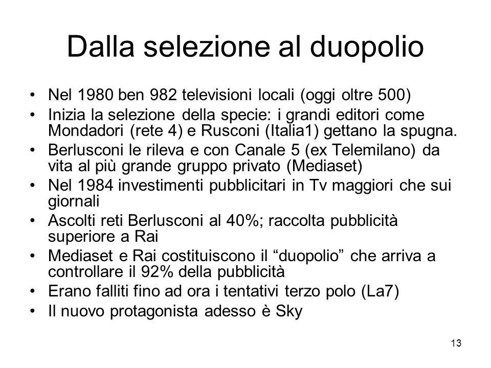 13 Dalla selezione al duopolio Nel 1980 ben 982 televisioni locali (oggi oltre 500) Inizia la selezione della specie: i grandi editori come Mondadori (rete 4) e Rusconi (Italia1) gettano la spugna.