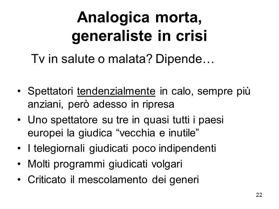 22 Analogica morta, generaliste in crisi Tv in salute o malata.