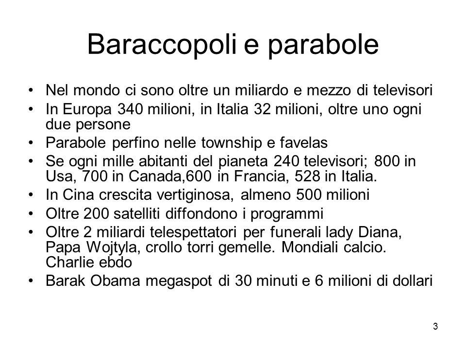 3 Baraccopoli e parabole Nel mondo ci sono oltre un miliardo e mezzo di televisori In Europa 340 milioni, in Italia 32 milioni, oltre uno ogni due persone Parabole perfino nelle township e favelas Se ogni mille abitanti del pianeta 240 televisori; 800 in Usa, 700 in Canada,600 in Francia, 528 in Italia.