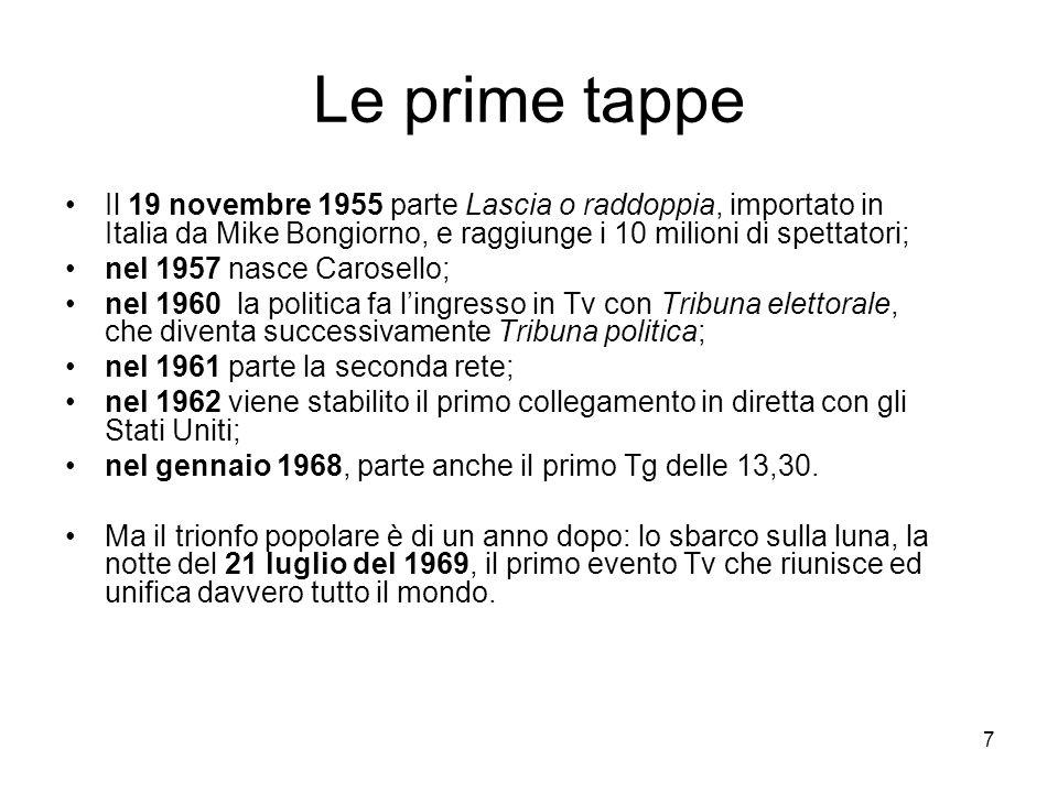 7 Le prime tappe Il 19 novembre 1955 parte Lascia o raddoppia, importato in Italia da Mike Bongiorno, e raggiunge i 10 milioni di spettatori; nel 1957 nasce Carosello; nel 1960 la politica fa l'ingresso in Tv con Tribuna elettorale, che diventa successivamente Tribuna politica; nel 1961 parte la seconda rete; nel 1962 viene stabilito il primo collegamento in diretta con gli Stati Uniti; nel gennaio 1968, parte anche il primo Tg delle 13,30.