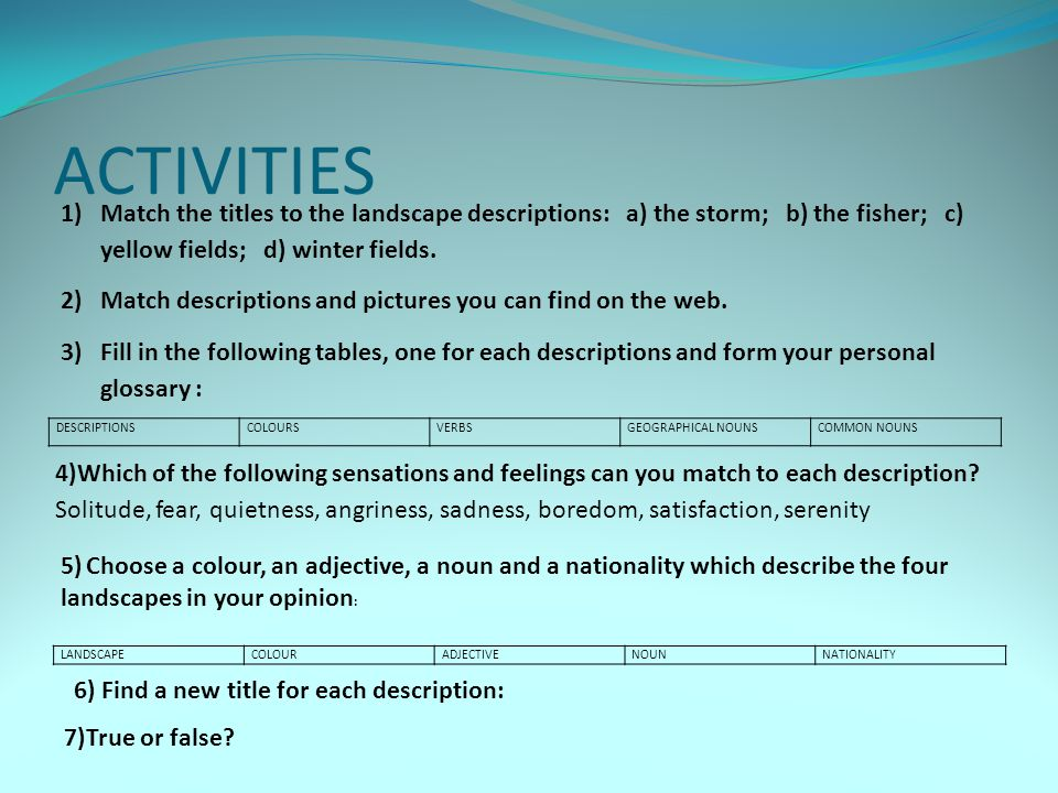 ACTIVITIES 8)Answer the following questions 9) Bring a photo of your favorite landscape in Marineo.