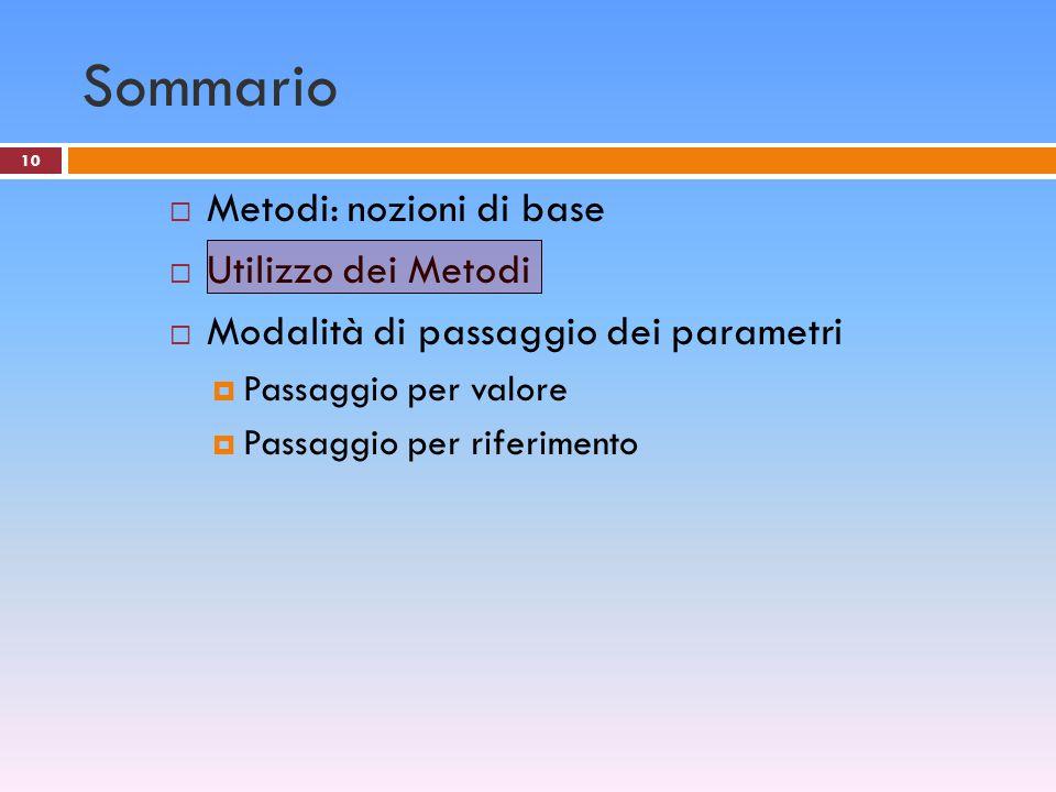 10 Sommario  Metodi: nozioni di base  Utilizzo dei Metodi  Modalità di passaggio dei parametri  Passaggio per valore  Passaggio per riferimento