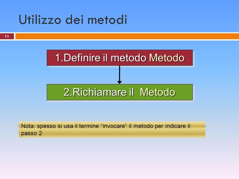 """11 Utilizzo dei metodi 1.Definire il metodo Metodo 2.Richiamare il Metodo Nota: spesso si usa il termine """"invocare"""" il metodo per indicare il passo 2"""