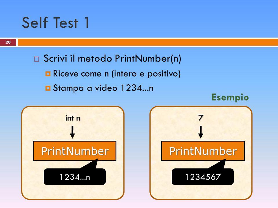 20 Self Test 1  Scrivi il metodo PrintNumber(n)  Riceve come n (intero e positivo)  Stampa a video 1234...n PrintNumber int n 1234...n PrintNumber