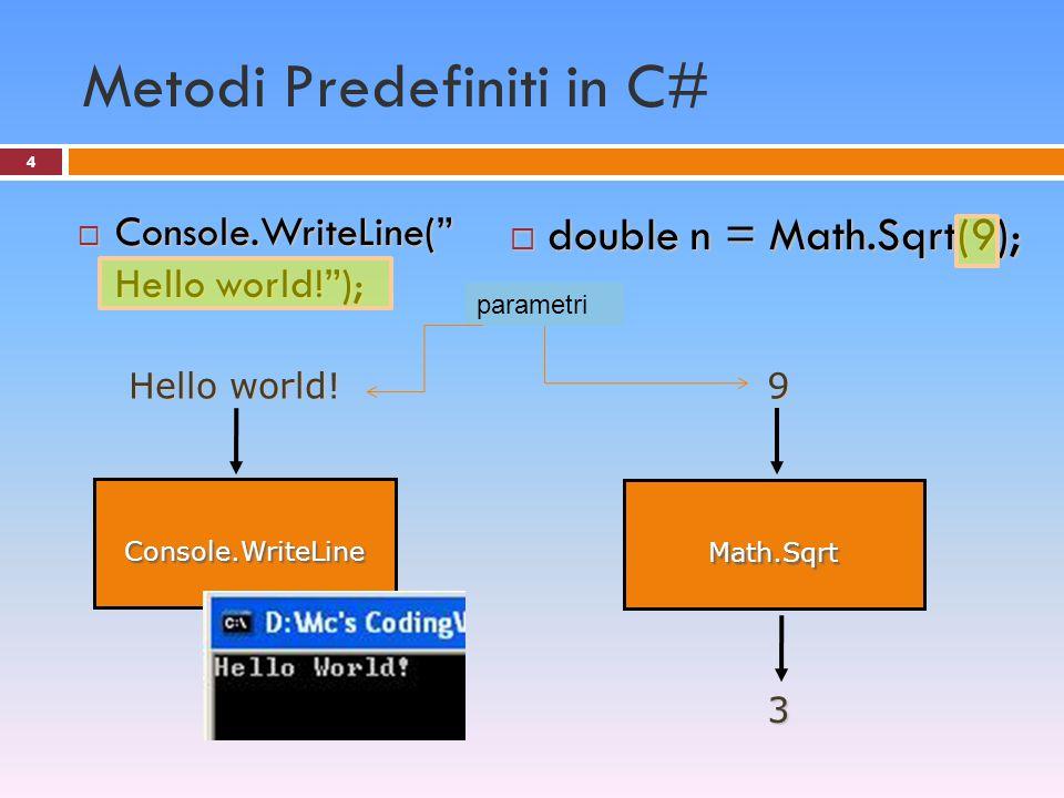 Esempio 5 : metodi multipli 35 static void Main(string[] args) { Console.Write( Inserire 2 valori: ); double a1 = double.Parse(Console.ReadLine()); double a2 = double.Parse(Console.ReadLine()); Stampa(a1, a2); } static double PuntoMedio(double n1, double n2) { return (n1+n2)/2; } static void Stampa(double x, double y) { Console.Write( P.