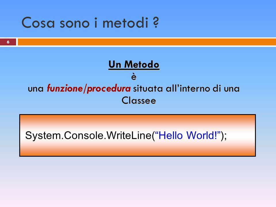Tipi di metodo 1.Metodi senza valore di ritorno Procedura Console.WriteLine( Hello World! ); 2.