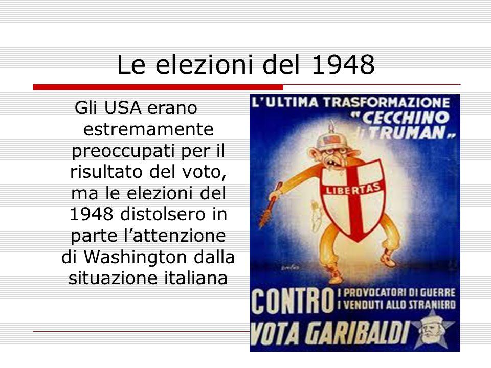 Le elezioni del 1948 Gli USA erano estremamente preoccupati per il risultato del voto, ma le elezioni del 1948 distolsero in parte l'attenzione di Washington dalla situazione italiana