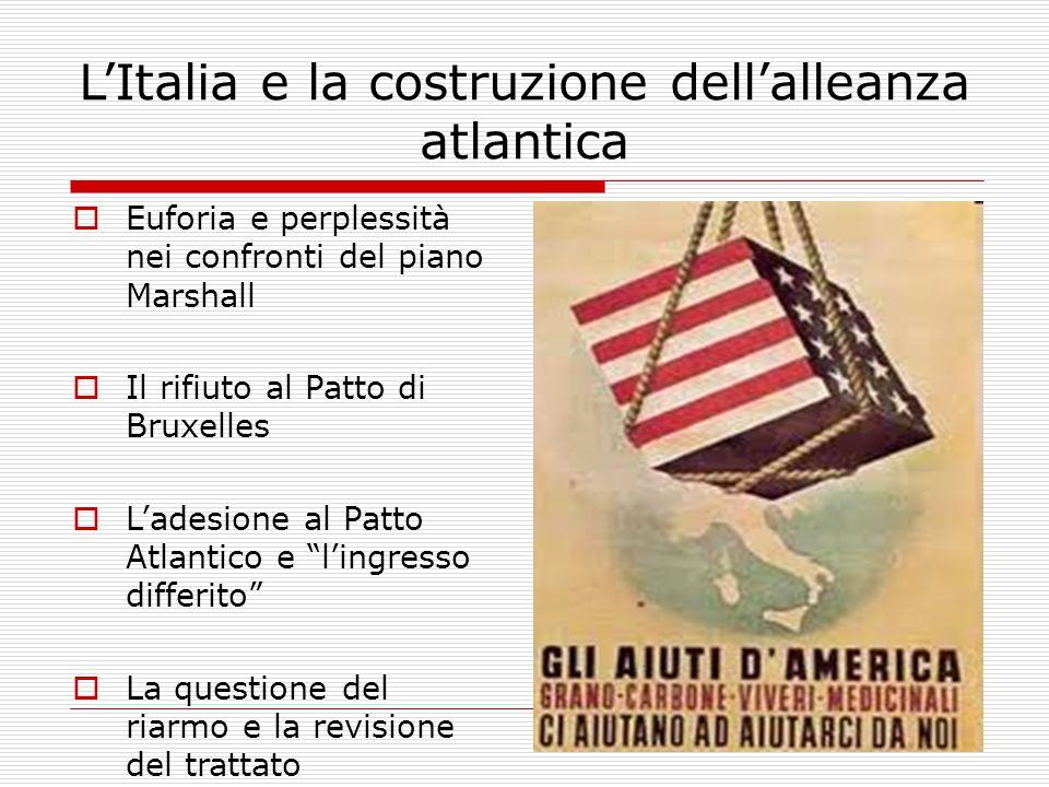 L'Italia e la costruzione dell'alleanza atlantica  Euforia e perplessità nei confronti del piano Marshall  Il rifiuto al Patto di Bruxelles  L'adesione al Patto Atlantico e l'ingresso differito  La questione del riarmo e la revisione del trattato