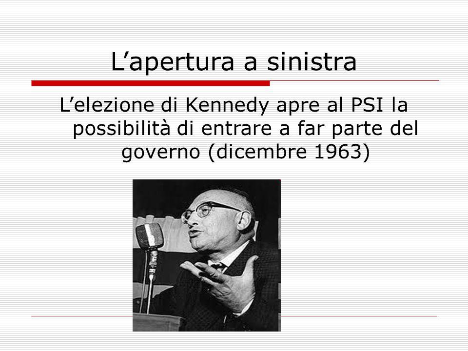L'apertura a sinistra L'elezione di Kennedy apre al PSI la possibilità di entrare a far parte del governo (dicembre 1963)