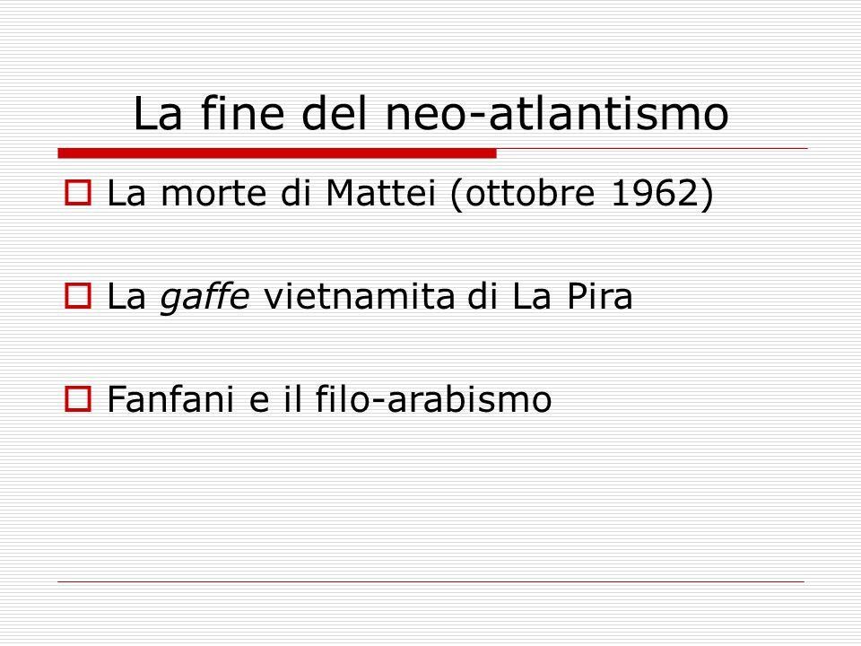 La fine del neo-atlantismo  La morte di Mattei (ottobre 1962)  La gaffe vietnamita di La Pira  Fanfani e il filo-arabismo