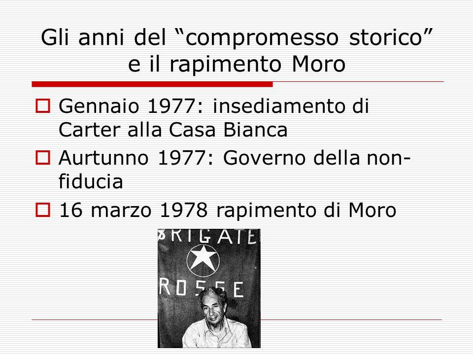 Gli anni del compromesso storico e il rapimento Moro  Gennaio 1977: insediamento di Carter alla Casa Bianca  Aurtunno 1977: Governo della non- fiducia  16 marzo 1978 rapimento di Moro