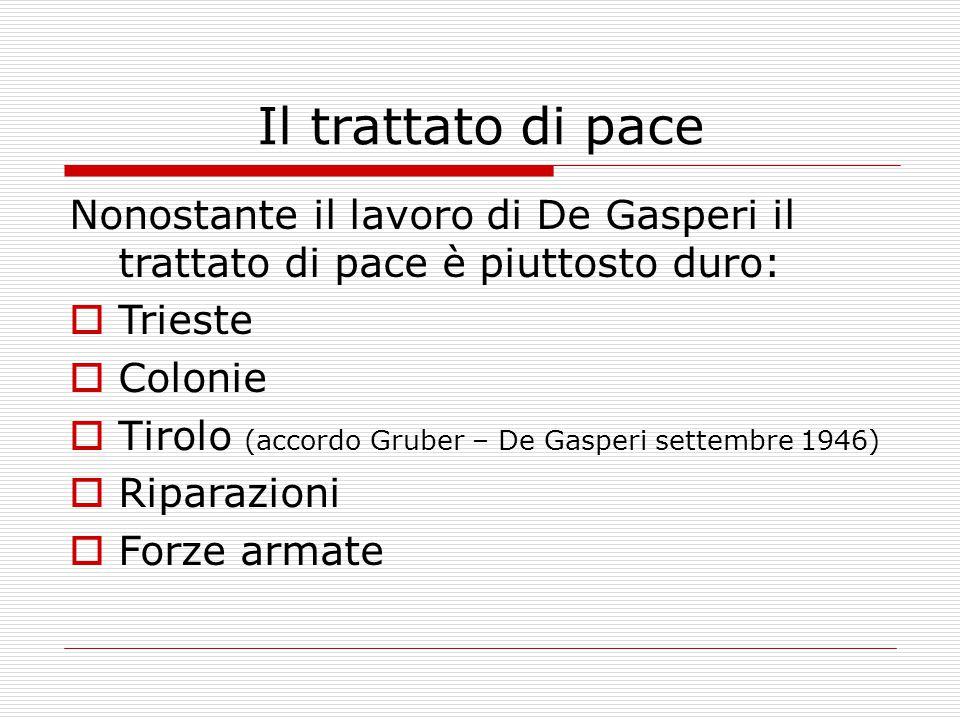 Il trattato di pace  Smembramento della Venezia Giulia  Nessun accordo sulle colonie pre –fasciste  Spartizione della flotta  Colonie: maggio 1948 fallisce il compromesso Bevin - Sforza