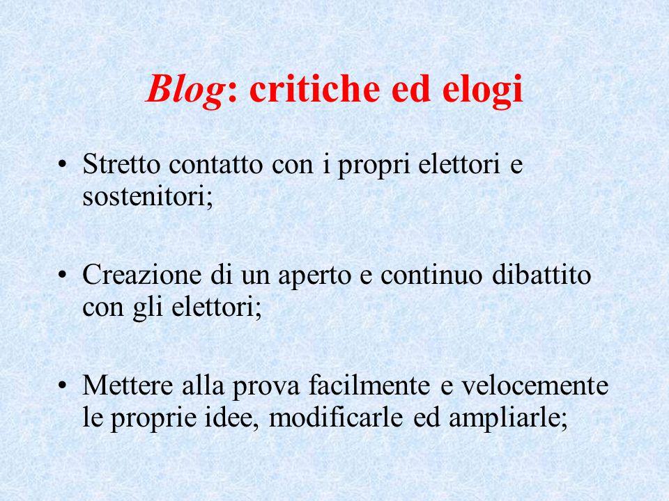 Blog: critiche ed elogi Stretto contatto con i propri elettori e sostenitori; Creazione di un aperto e continuo dibattito con gli elettori; Mettere alla prova facilmente e velocemente le proprie idee, modificarle ed ampliarle;