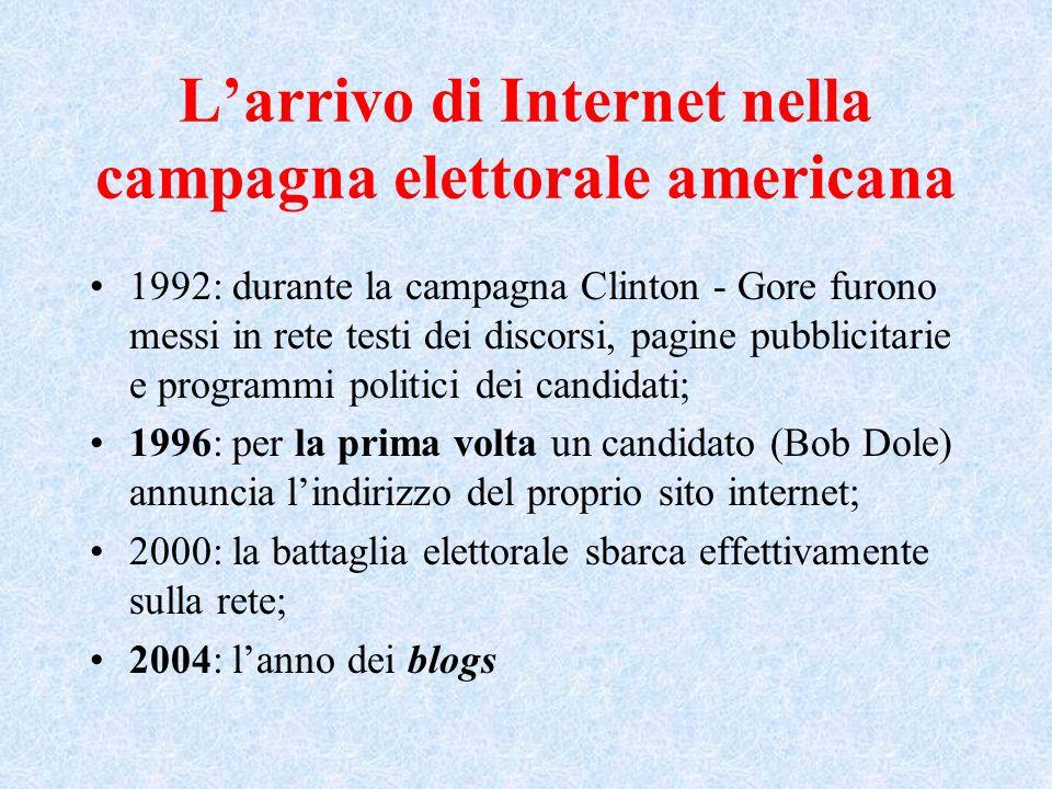 L'arrivo di Internet nella campagna elettorale americana 1992: durante la campagna Clinton - Gore furono messi in rete testi dei discorsi, pagine pubblicitarie e programmi politici dei candidati; 1996: per la prima volta un candidato (Bob Dole) annuncia l'indirizzo del proprio sito internet; 2000: la battaglia elettorale sbarca effettivamente sulla rete; 2004: l'anno dei blogs