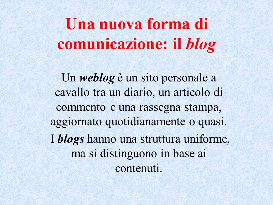 Una nuova forma di comunicazione: il blog Un weblog è un sito personale a cavallo tra un diario, un articolo di commento e una rassegna stampa, aggiornato quotidianamente o quasi.