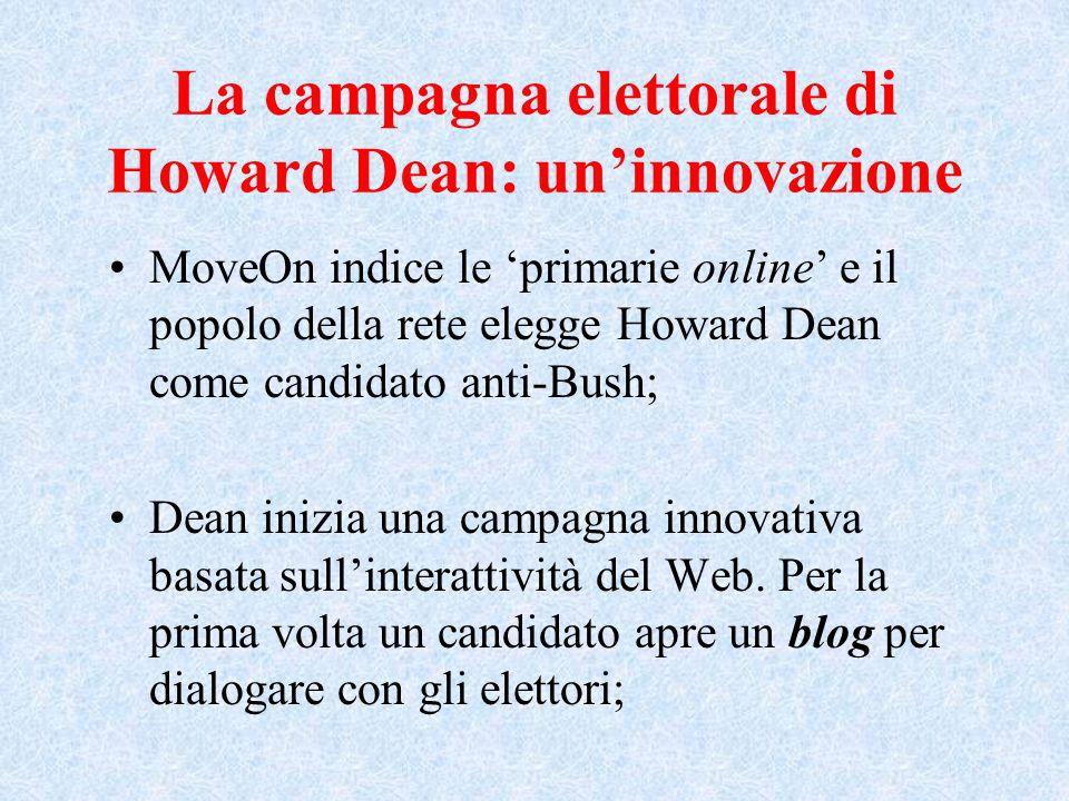 La campagna elettorale di Howard Dean: un'innovazione MoveOn indice le 'primarie online' e il popolo della rete elegge Howard Dean come candidato anti-Bush; Dean inizia una campagna innovativa basata sull'interattività del Web.
