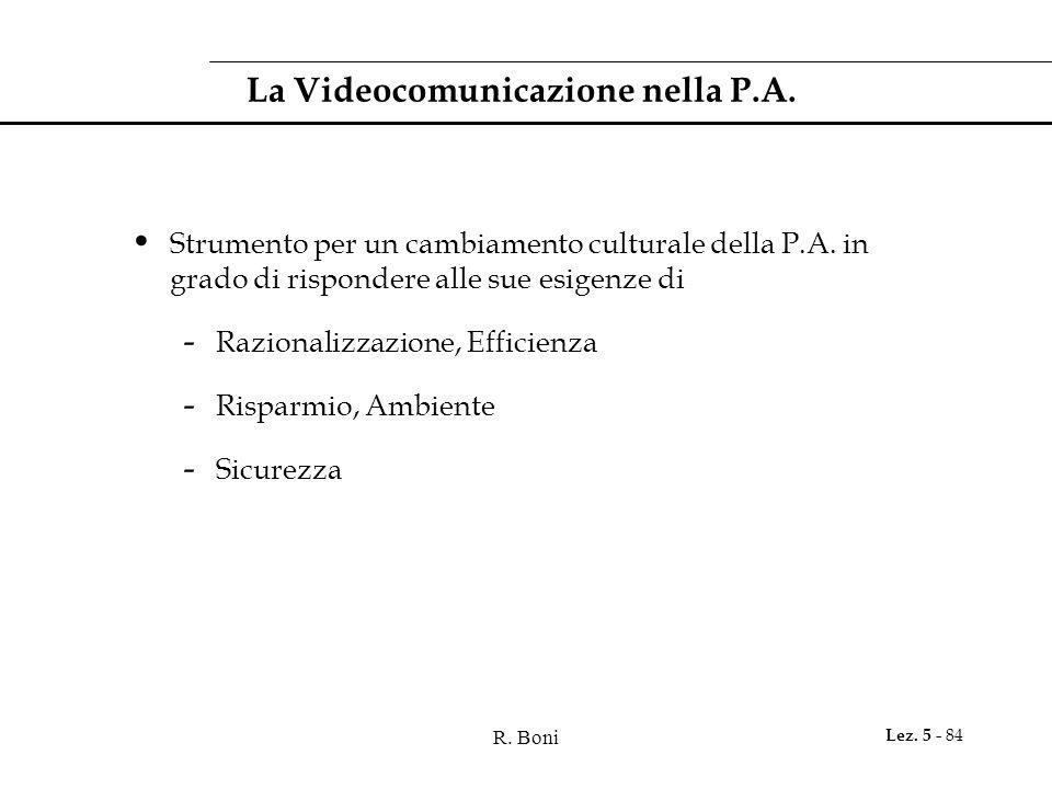 R. Boni Lez. 5 - 84 La Videocomunicazione nella P.A.