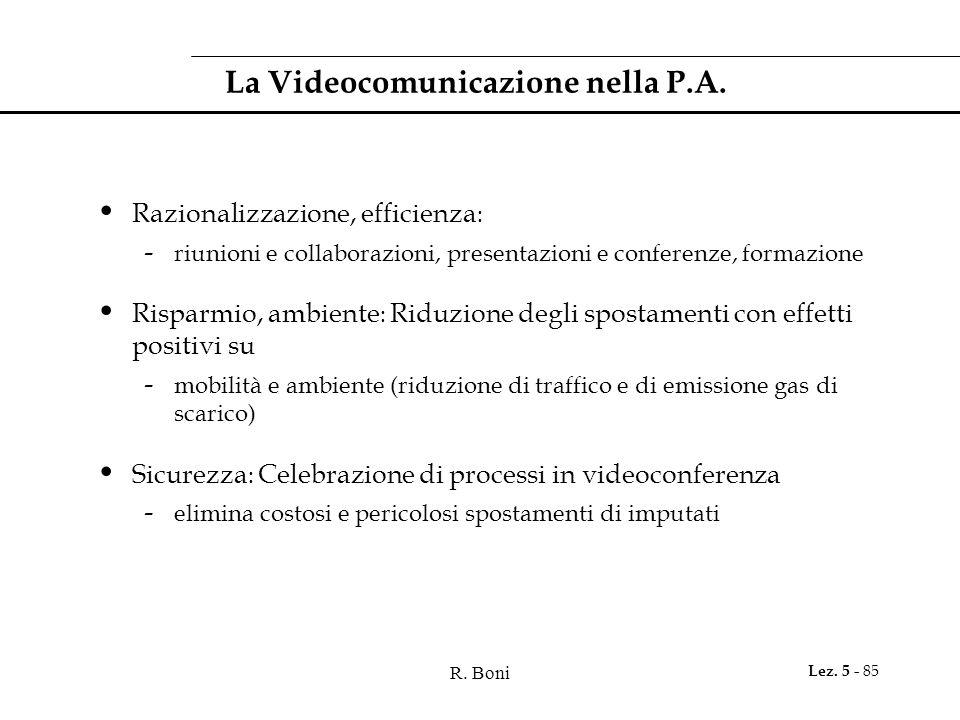 R. Boni Lez. 5 - 85 La Videocomunicazione nella P.A.