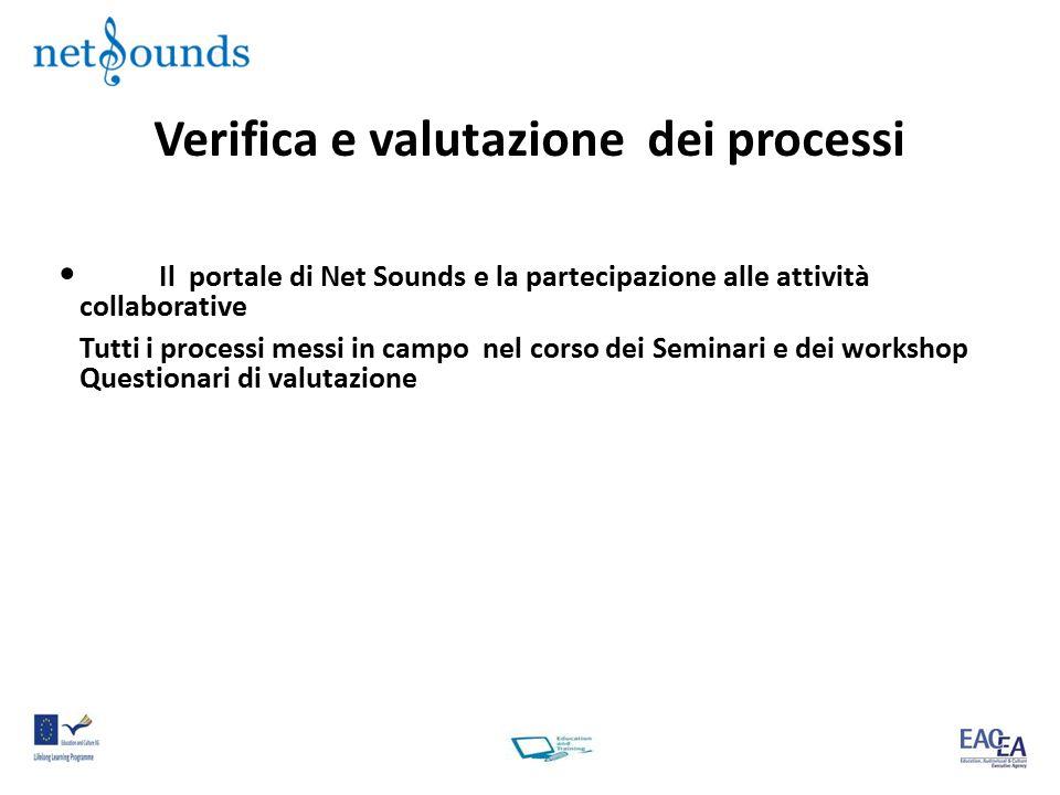 Verifica e valutazione dei processi Il portale di Net Sounds e la partecipazione alle attività collaborative Tutti i processi messi in campo nel corso dei Seminari e dei workshop Questionari di valutazione