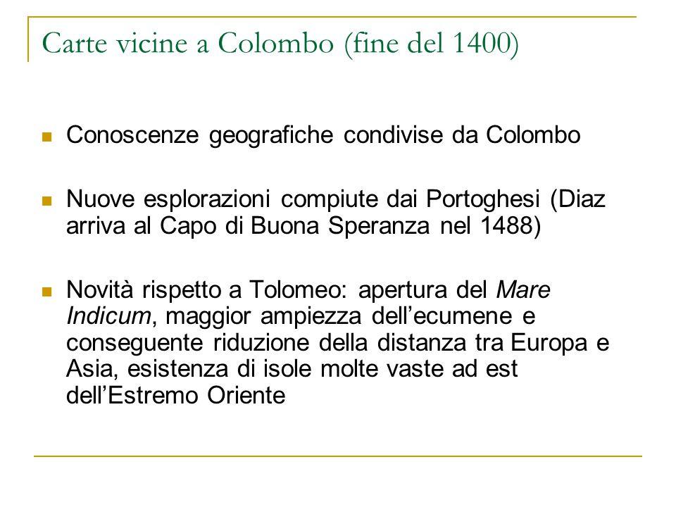 Carte vicine a Colombo (fine del 1400) Conoscenze geografiche condivise da Colombo Nuove esplorazioni compiute dai Portoghesi (Diaz arriva al Capo di