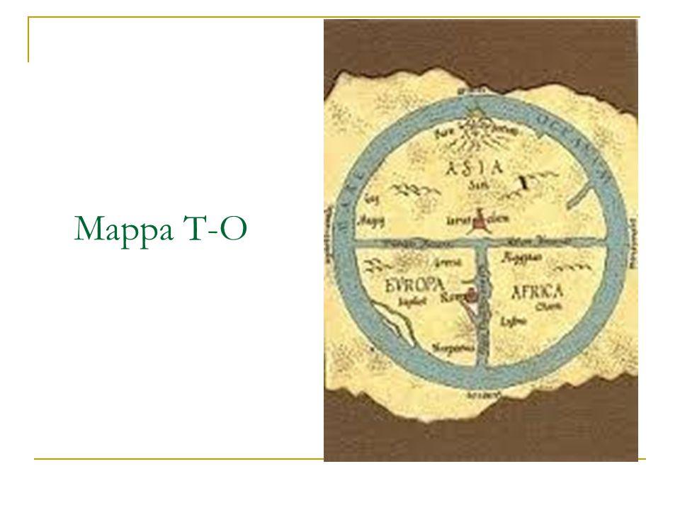 Planisfero di Fra Mauro (1450) Evoluzione della mappa mundi medievale, abbandono dello schema T-O Influenza della Geographia di Tolomeo, delle notizie riportate dai viaggiatori portoghesi, delle conoscenze dei navigatori arabi e delle informazioni riportate dai viaggiatori occidentali recatisi in Asia.