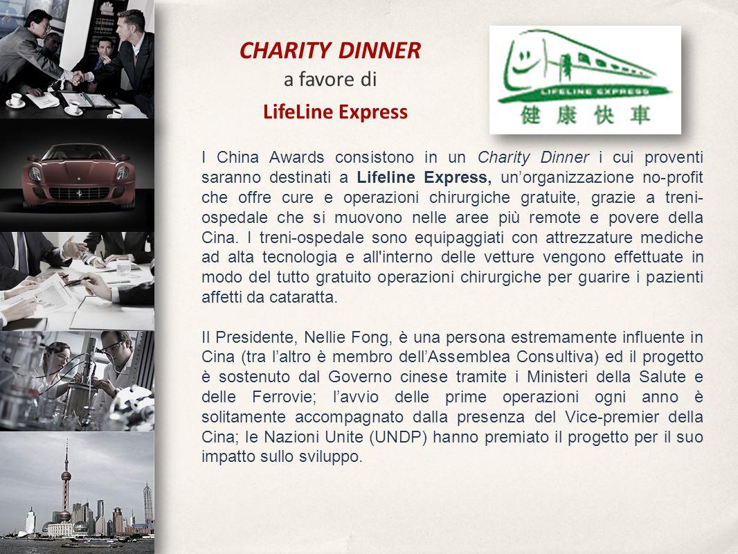 I China Awards consistono in un Charity Dinner i cui proventi saranno destinati a Lifeline Express, un'organizzazione no-profit che offre cure e opera