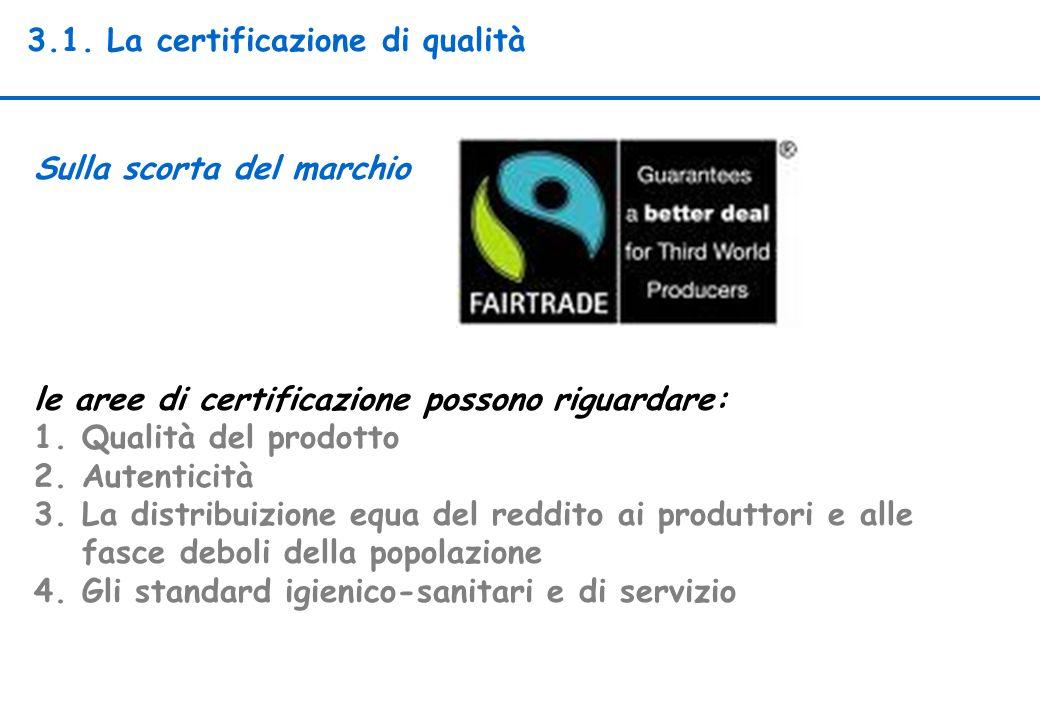 3.1. La certificazione di qualità Sulla scorta del marchio le aree di certificazione possono riguardare: 1.Qualità del prodotto 2.Autenticità 3.La dis