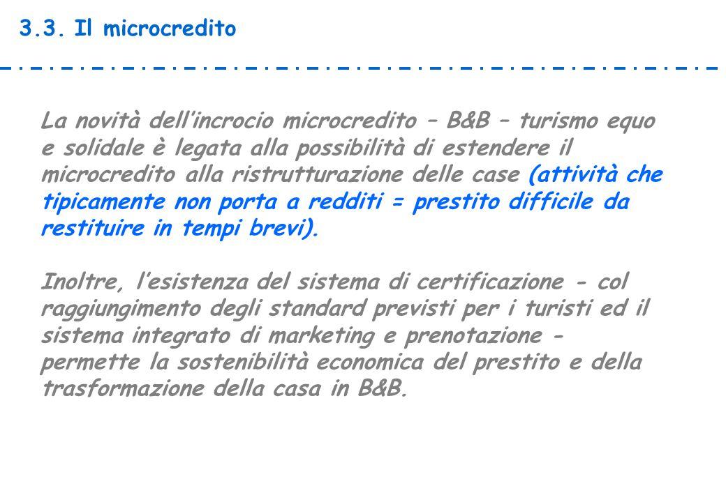 3.3. Il microcredito La novità dell'incrocio microcredito – B&B – turismo equo e solidale è legata alla possibilità di estendere il microcredito alla