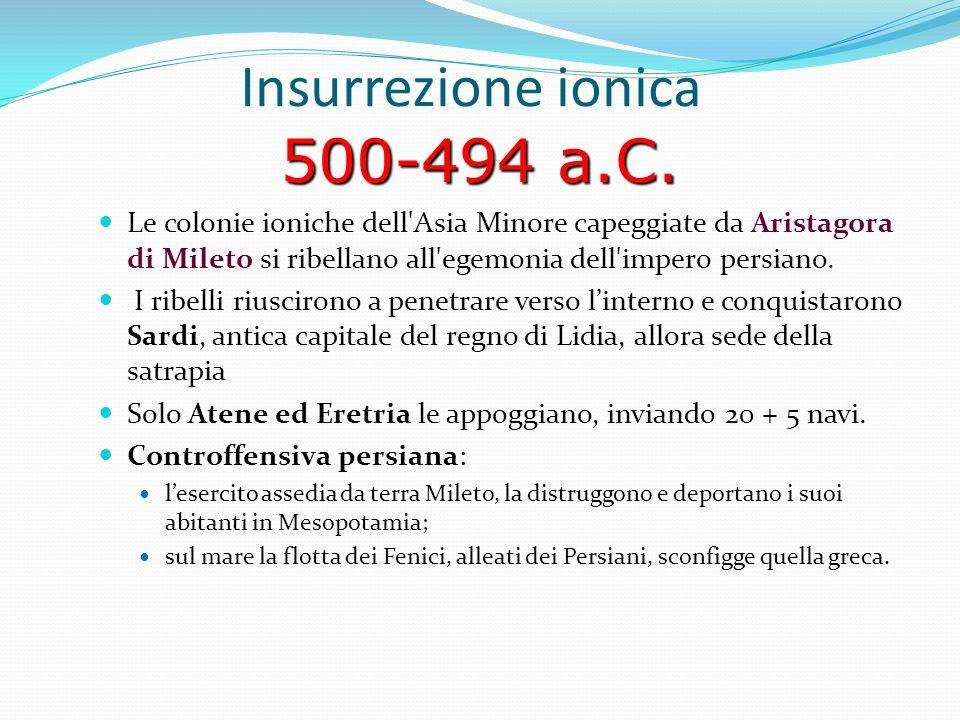 500-494 a.C. Insurrezione ionica 500-494 a.C. Le colonie ioniche dell'Asia Minore capeggiate da Aristagora di Mileto si ribellano all'egemonia dell'im