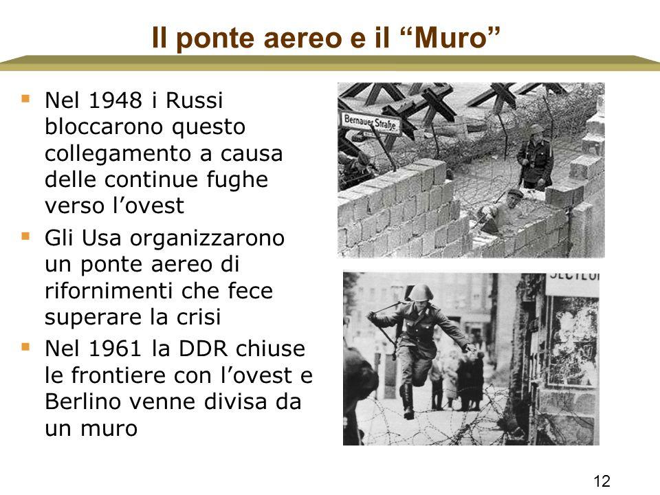 """12 Il ponte aereo e il """"Muro""""  Nel 1948 i Russi bloccarono questo collegamento a causa delle continue fughe verso l'ovest  Gli Usa organizzarono un"""