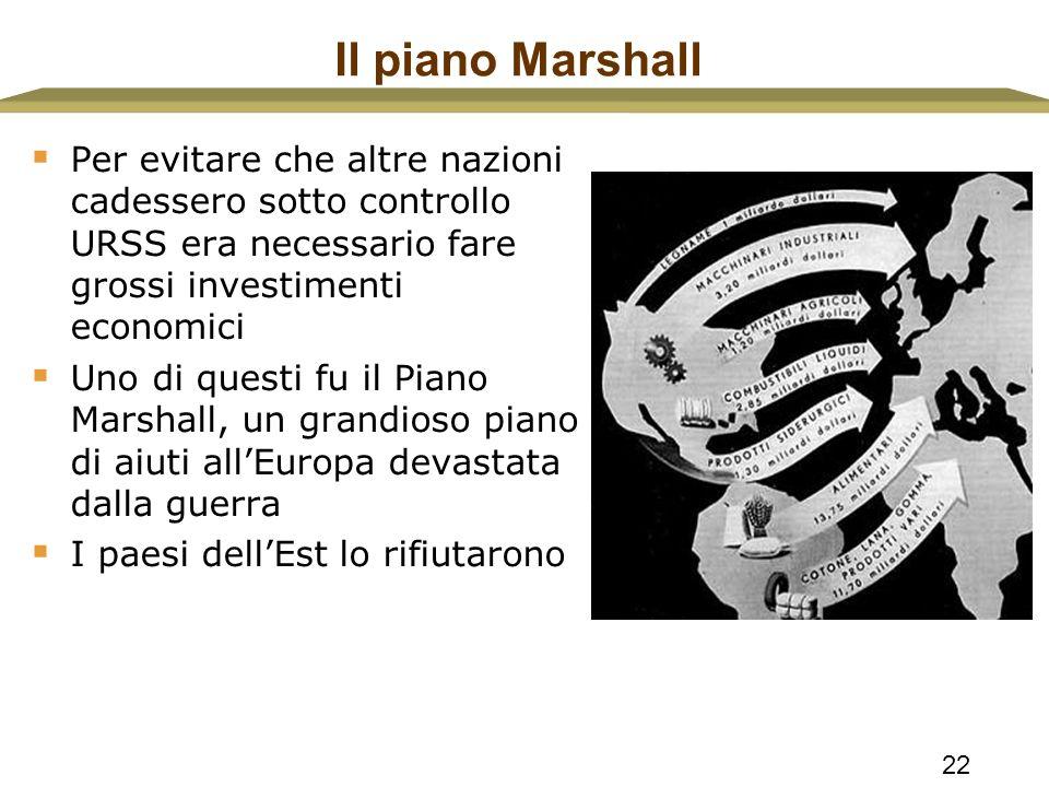 22 Il piano Marshall  Per evitare che altre nazioni cadessero sotto controllo URSS era necessario fare grossi investimenti economici  Uno di questi
