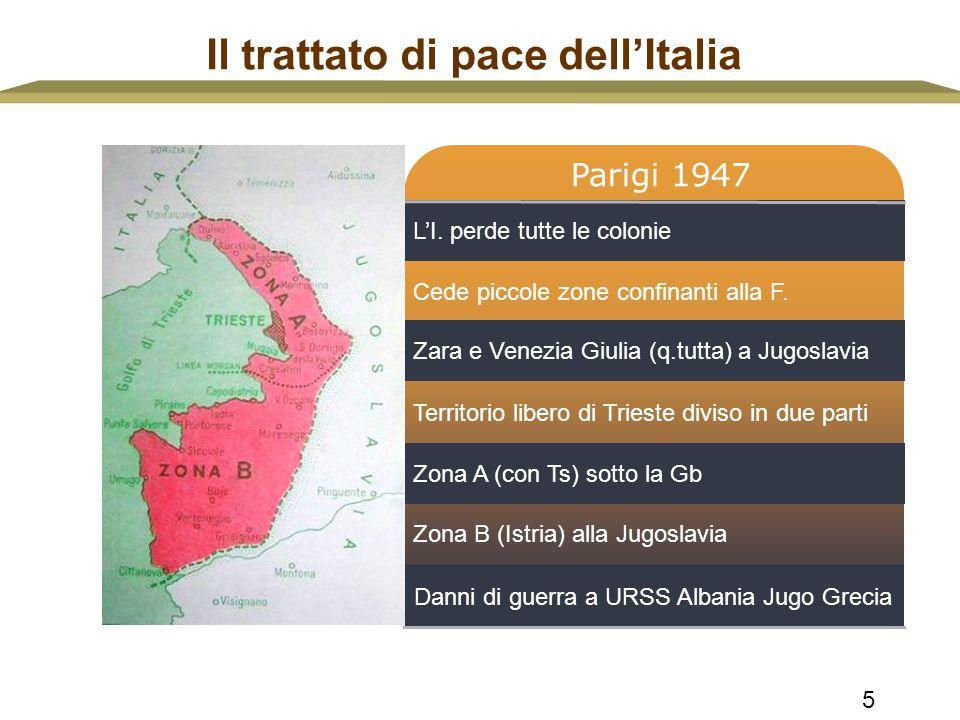 5 Il trattato di pace dell'Italia L'I. perde tutte le colonie Zara e Venezia Giulia (q.tutta) a Jugoslavia Zona A (con Ts) sotto la Gb Parigi 1947 Ced