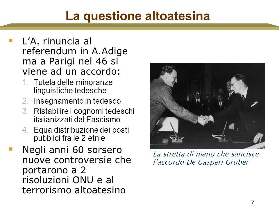 7 La questione altoatesina  L'A. rinuncia al referendum in A.Adige ma a Parigi nel 46 si viene ad un accordo: 1. Tutela delle minoranze linguistiche