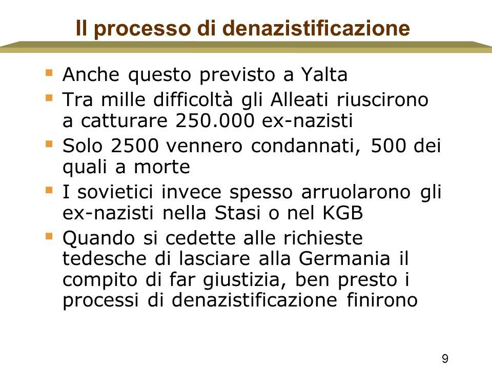 9 Il processo di denazistificazione  Anche questo previsto a Yalta  Tra mille difficoltà gli Alleati riuscirono a catturare 250.000 ex-nazisti  Sol