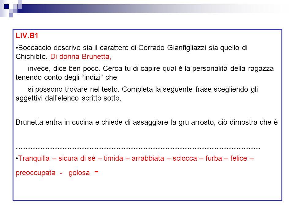LIV.B1 Boccaccio descrive sia il carattere di Corrado Gianfigliazzi sia quello di Chichibìo. Di donna Brunetta, invece, dice ben poco. Cerca tu di cap