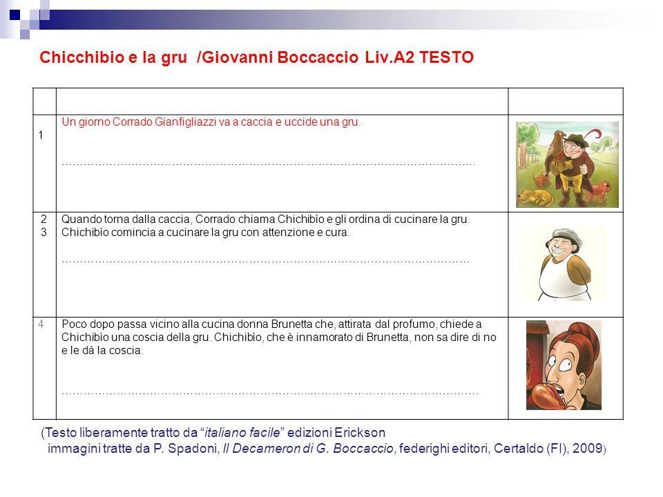 Chicchibio e la gru /Giovanni Boccaccio Liv.A2 TESTO 1 Un giorno Corrado Gianfigliazzi va a caccia e uccide una gru. ………………………………………………………….…………………………