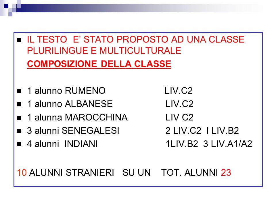 RISULTATI RAGGIUNTI Le tre tipologie di testo sono state così suddivise: LIV C2 14 ALUNNI (9 ITALIANI E 5 STRANIERI) 4 GRUPPI DI TRE 1 DI DUE VALUTAZIONE COMPLESSIVA DELLA PROVA DEI GRUPPI 6; 7; 7; 8; 9 LIV B2 6 ALUNNI (4 ITALIANI E 2 STRANIERI) 2 GRUPPI DI TRE 5; 7 LIV A1 3 ALUNNI (3 STRANIERI) 1 GRUPPO DI TRE 6 Nella lettura finale del testo originale(G.Boccaccio 1300) la comprensione del testo è stata molto buona.