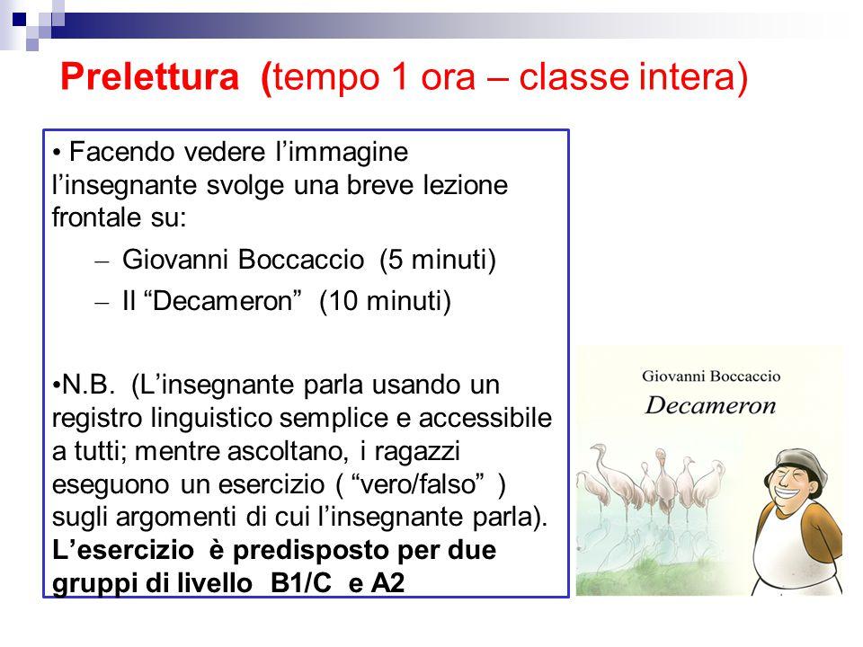 Prelettura (tempo 1 ora – classe intera) Facendo vedere l'immagine l'insegnante svolge una breve lezione frontale su: – Giovanni Boccaccio (5 minuti)