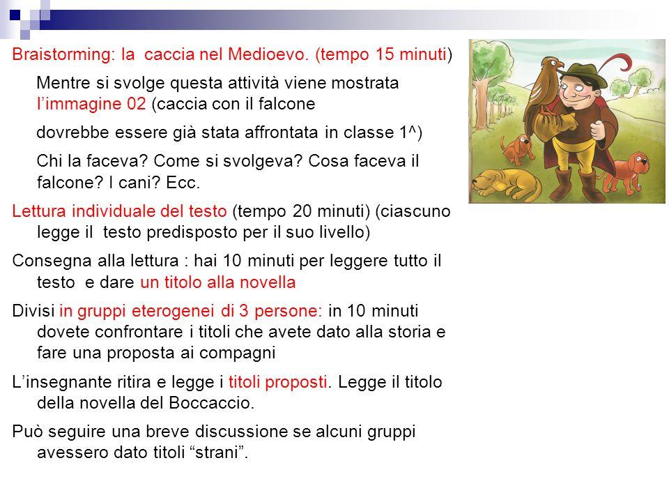 Braistorming: la caccia nel Medioevo. (tempo 15 minuti) Mentre si svolge questa attività viene mostrata l'immagine 02 (caccia con il falcone dovrebbe