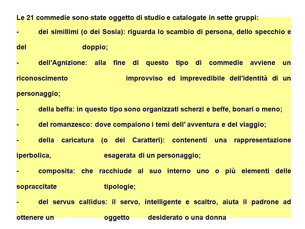Le 21 commedie sono state oggetto di studio e catalogate in sette gruppi: - dei simillimi (o dei Sosia): riguarda lo scambio di persona, dello specchi