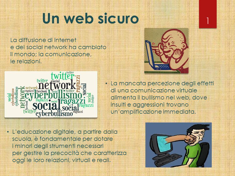 Un web sicuro La mancata percezione degli effetti di una comunicazione virtuale alimenta il bullismo nel web, dove insulti e aggressioni trovano un'am